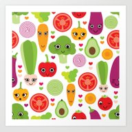 Veggie Friends And Smile… Art Print