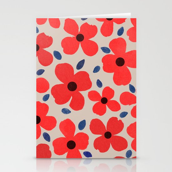 Dogwood Red Stationery Card