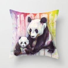Pandas and Rainbow Watercolor Throw Pillow
