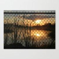 Fenced Sunrise Canvas Print