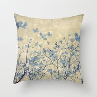 Vintage Duotone Indigo Blue and Cream Spring Dogwood Branches Throw Pillow