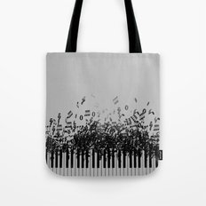 Black Piano music Tote Bag