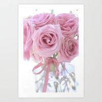 Cottage Pink Pastel Roses Art Print
