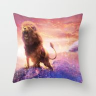 Roaring Space Lion Throw Pillow