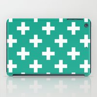 Emerald and White Plus Signs  iPad Case