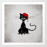 Evil Christmas Cat Art Print