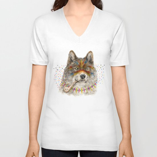 Cherokee Wolf V-neck T-shirt