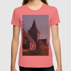 Crathie Church, Balmoral, Scotland Womens Fitted Tee Pomegranate SMALL