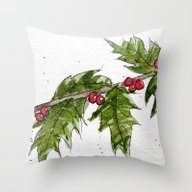 Holly Holiday Greetings Throw Pillow