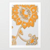 Vintage Paisley Orange/g… Art Print