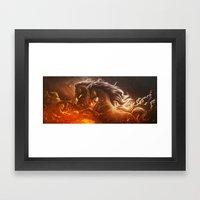 Fire with Horses Framed Art Print