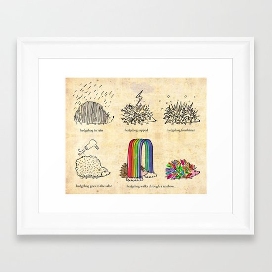 hedgehog goes rainbow Framed Art Print