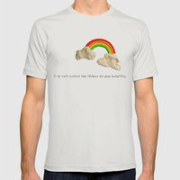 Rainbows & Poops Mens Fitted Tee Silver SMALL