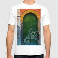 Magic Green Door In Sici… Mens Fitted Tee White SMALL
