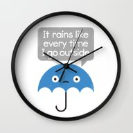 Wall Clock featuring Umbrellativity by David Olenick