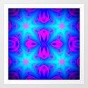 Fuchsia Pink & blue Starburst Art Print