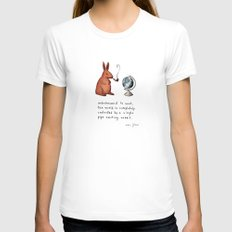 Pipe-smoking rabbit Womens Fitted Tee White SMALL