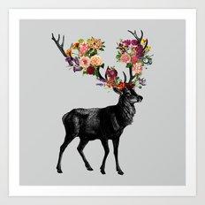 Spring Itself Deer Floral Art Print