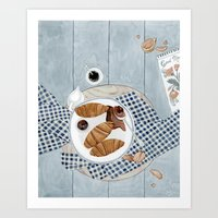 Croissants With Cherry Jam Art Print