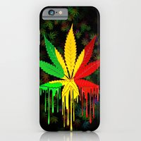 Marijuana Leaf Rasta Colors Dripping Paint iPhone 6 Slim Case