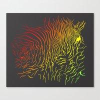 Tiger and zebra Canvas Print