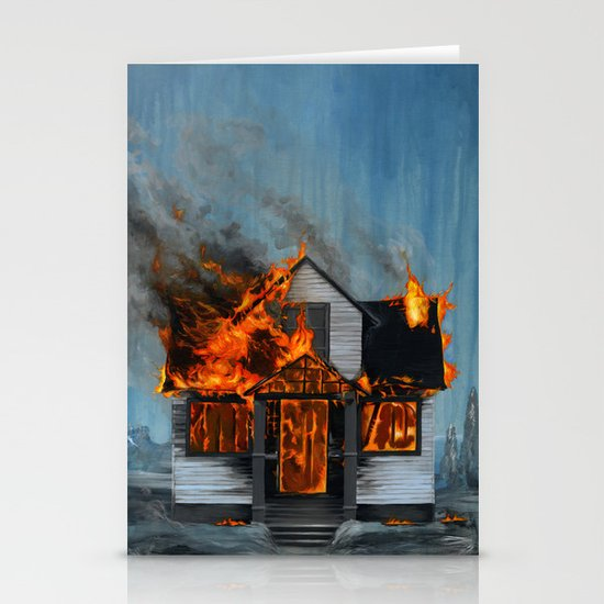 House on Fire Stationery Card