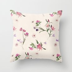 Scattered Floral on Cream Throw Pillow