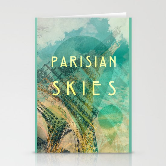 Songs and Cities: Parisian Skies Stationery Card