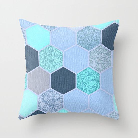 Denim Blue, Aqua & Indigo Hexagon Doodle Pattern Throw Pillow