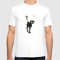 Cat And Fly Mens Fitted Tee White SMALL
