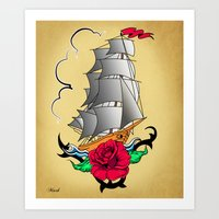 ship Art Prints featuring ship by mark ashkenazi