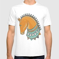 Horse Head - Chrome Mens Fitted Tee White SMALL