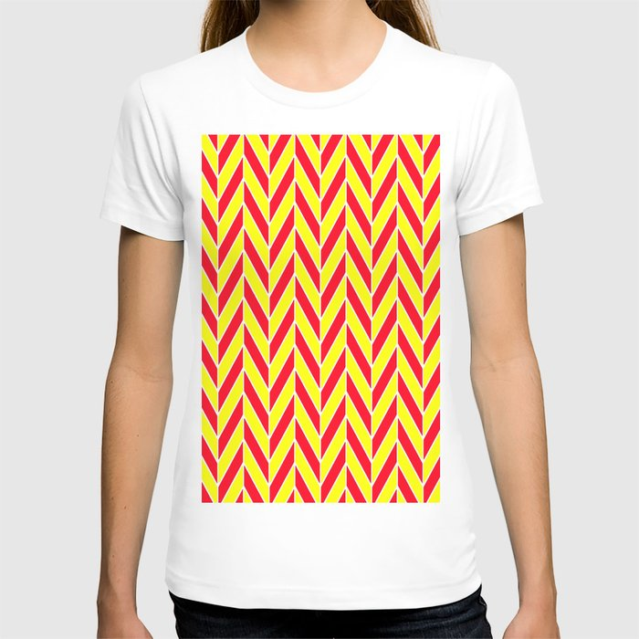 Orange And Red Zig Zag T Shirt By Colorful Art Society6