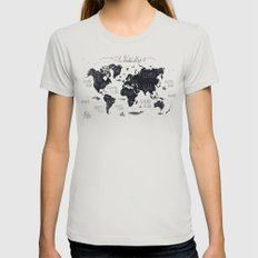 The World Map Womens Fitted Tee Silver SMALL