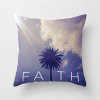 Palm Tree Faith Throw Pillow