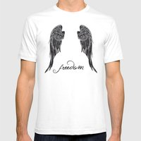 WINGS OF FREEDOM Mens Fitted Tee White SMALL