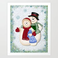 Snowman And Family Glitt… Art Print