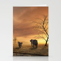 elephants Stationery Cards featuring Elephants by Susann Mielke