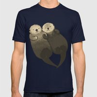 Significant Otters - Otters Holding Hands Mens Fitted Tee Navy SMALL