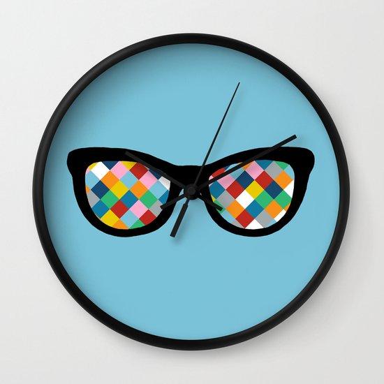 Diamond Eyes on Blue Wall Clock