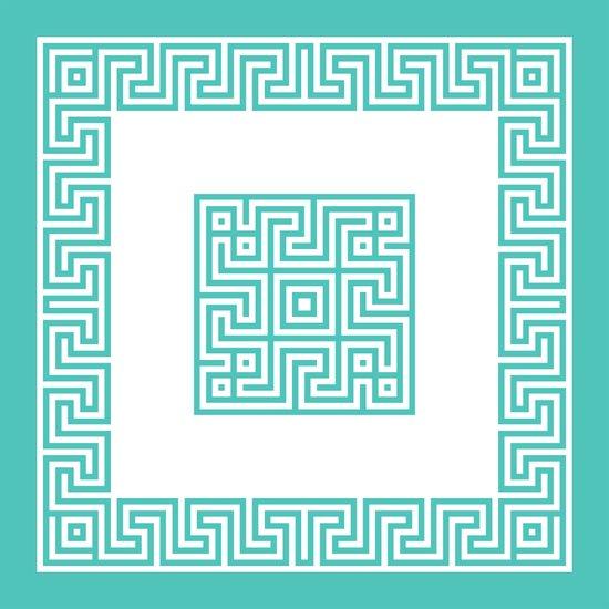 Greek Key turquoise Art Print
