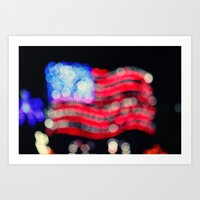 Red, White, and Bokeh Art Print