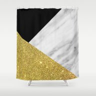 Marble & Gold Geometry Shower Curtain