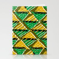 Yellow and green triangle pressprint and digital pattern Stationery Cards
