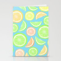 Mixed Citrus - blue Stationery Cards