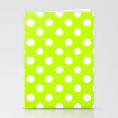 Polka Dots (White/Lime) Stationery Cards