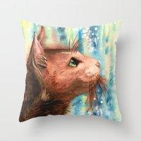 Brown Kitty Throw Pillow