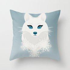 Arctic Fox Princess Throw Pillow
