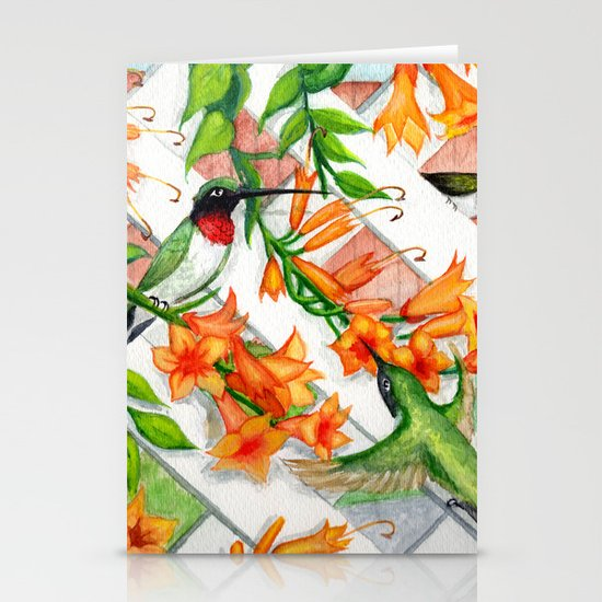 Hummingbirds and Trumpet Vines Stationery Card