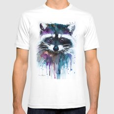 Raccoon Mens Fitted Tee White SMALL